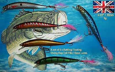 "5 X NEW 9g 3.5"" RATTLING FLOATING DIVING RAP TAIL LURES BASS PIKE PERCH FISHING"