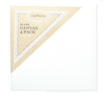 CraftMania Artist Blank Stretched Canvas For Painting Pack Of 4 20 x 20cm