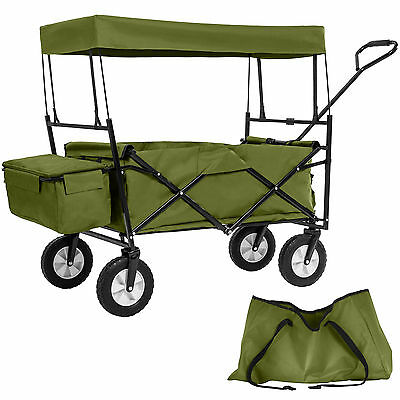 Foldable pull along wagon with roof garden trailer hand cart transport trolley g