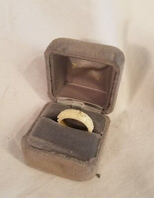 Antique Beautiful Hand Carved Dragon Bone Ring From Post-War Japan Nice Piece!