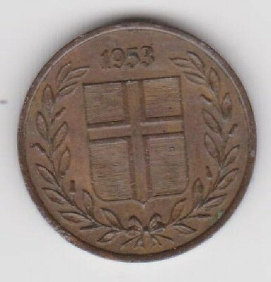 1953 Iceland One Eyrir ~ km 8 ~ Clear Date ~ see scans grade for yourself