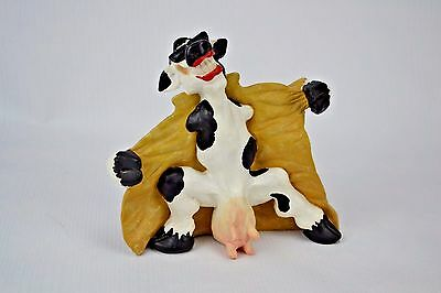 Cast Art Flashing Cow Figurine Figure Signed 1993 Funny Gag Unique Comical