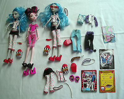Monster High todmüde deadtired Puppen Dolls Ghoulia Draculaura + lot of extras