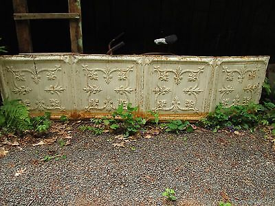 "Antique Pressed Tin Ceiling Panel 24"" X 96"" Old White Paint Shabby Garden Decor"