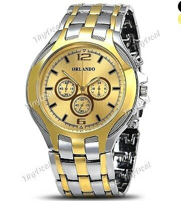 ORLANDO Luxury Sub-dials Men Quartz Stainless Steel Band Watch WWT-334077