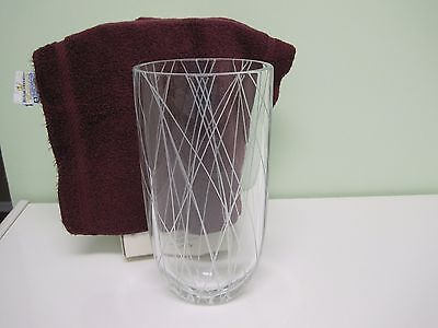 "Kate Spade Lenox Kips Cross Tall Vase 9 3/4"" Etched Full Lead Crystal NIB"