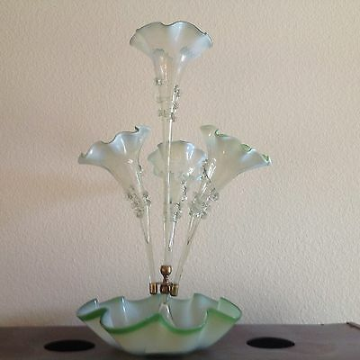 Antique Rare English Glass Epergne With 4 Horns