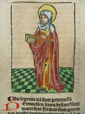 Saint Petronilla Pope Urban Dutch Incunable Leaf Col. Woodcut Antwerp 1505 J07
