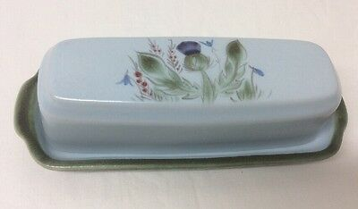 Buchan Portobello Butter Dish With Thistles Hand Painted Signed JM Scotland
