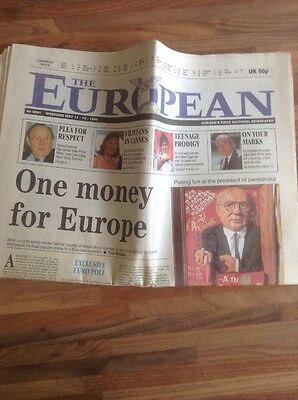 First Edition of The European newspaper. Dated 11-13th May 1990