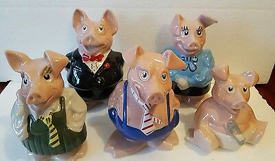 Natwest Wade Pigs Family Set With Original Stoppers