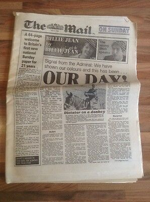 First Edition of The Mail On Sunday. Dated 2nd May 1982. Collectable.