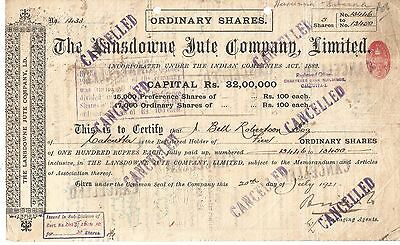 1921 India share certificate: The Lansdowne Jute Co Ltd small share