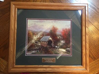 Home Interiors Thomas Kinkade Country Memories Print Picture Fall Bridge Horse
