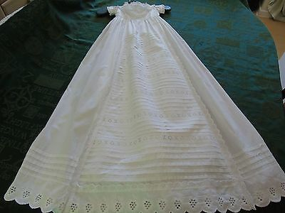 Vintage White Christening Gown,pin tucks/frills/broderie anglaise