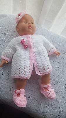 CROCHET BABY JACKET  in pink and white in shell stitch