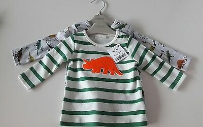 BNWT - Next Baby Boy Dinosaur print long sleeved tops (2) - 0-3 months