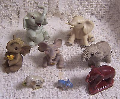 8 Collectible Vintage Elephant Figurines Assorted Sizes & Materials, 1 Red Japan