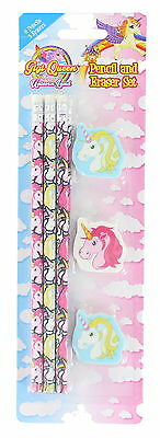 Children's Stationery 9 Piece Unicorn Pencil & Rubber Eraser Set