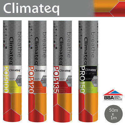 Climateq Breather Membrane | Breathable Roof Felt | 1 x 50m | Various Types