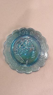 "Degenhart Glass ""First Lady Of Glass"" Plate, 5 1/2"",  Ice Blue Carnival"