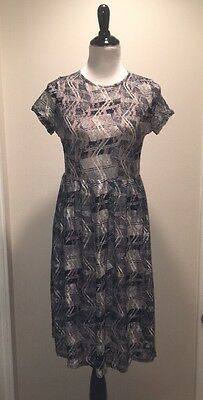 Elodie Dress Sz L Lace Overlay Blue White Tan Abstract Floral FREE SHIPPING! G39