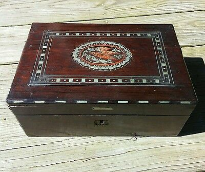 Antique Wooden Portable Writing Lap Desk Inlaid Etched Eagle Inlay Box Laptop