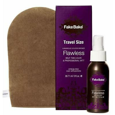 Fake Bake Golden Bronze Flawless Self-Tan Liquid & Pro Mitt Travel Size 3 oz
