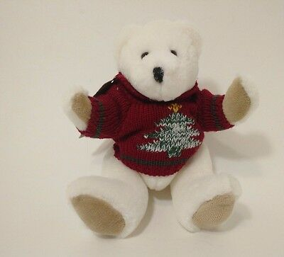 Boyds Bears Warren Holiday Sweater Jointed Investment Collectibles White Xmas