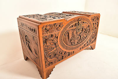 A 20th Century Carved Camphor Wood Blanket Chest