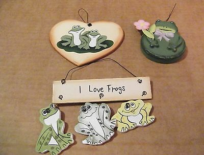 wood I love FROGS on Lily pad frog country kitchen primitive decor sign signs 3p