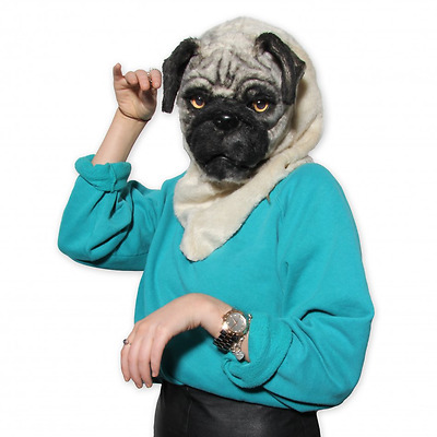 Pug Dog Costume Pug Dog Mask Realistic Moving Mouth Fancy Dress Faux Fur