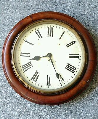 Magnificent Antique Victorian Fusee Railway School Wall Clock. Oversized