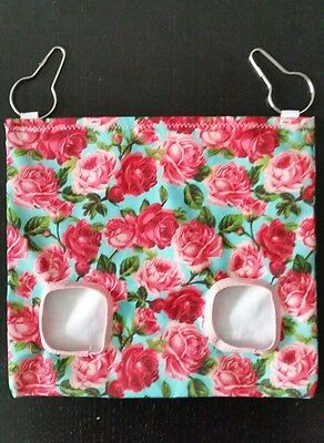 Fabric Hay bag turquoise roses - guinea pig, bunny