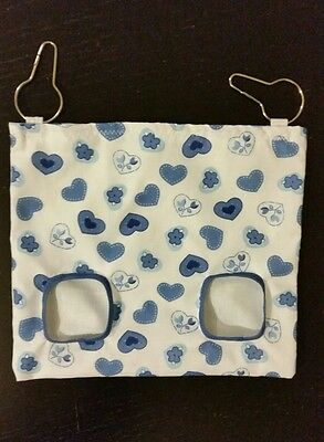 Fabric Hay bag white & blue hearts - guinea pig, bunny