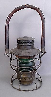 Adlake Kero No. 250 Wood Handle RR Lantern with Green Globe, 1913 & 1922 Pat.Dts