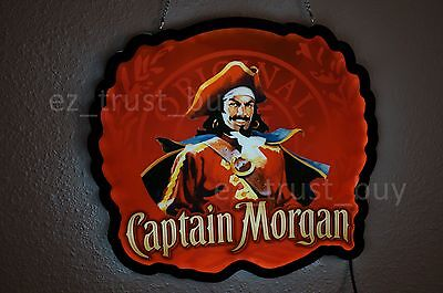 New Captain Morgan Rum Bar Logo Man Cave LED Neon Sign 14""