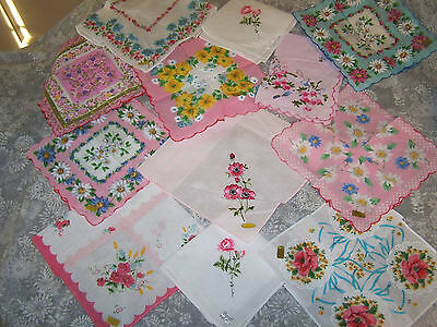 Vintage style ladies handkerchiefs; 12 different floral hankies; craft; wedding