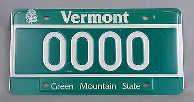One (1) Vermont (VT) Car / Auto Sample License Plate # 0000