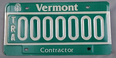 Vermont (VT) Contractor TRA Trailer Sample License Plate # 0000000 w/ Envelope