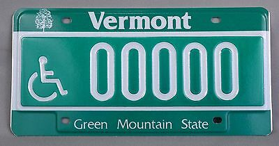 Vermont (VT) Handicap Sample Car License Plate # 00000 w/ Original Envelope
