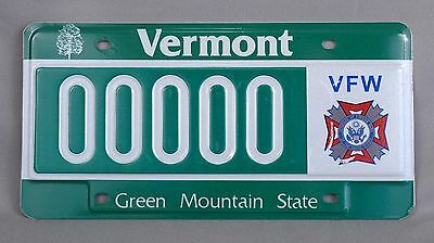 Vermont (VT) VFW Sample License Plate # 00000