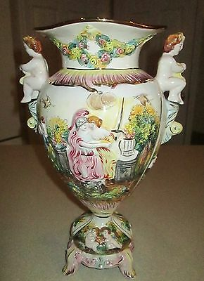 Large Beautiful Italian Capodimonte Cherub Urn / Vase