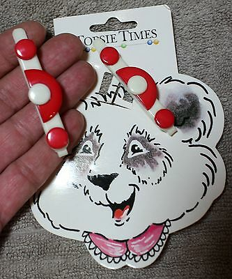 2 New Vintage Red & White Topsie Times Deco Style Hair Barrette Clip Woman Girl