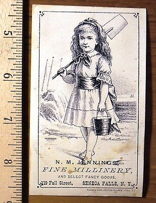 Victorian Trade Card, Girl on Beach, Immanuel and Weeks, Albany N.Y,