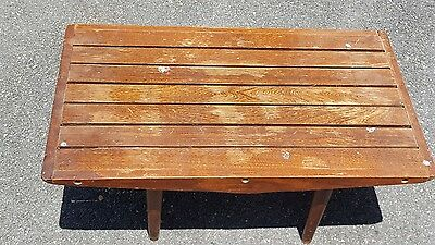 Modernist Vintage Mid Century Modern Slat Coffee Table Bench Wood 30""