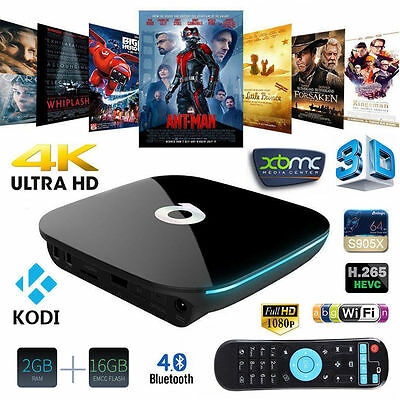 QBOX 2GB/16GB Amlogic KODI 17 S905X Mali-450 Android 6.0 Smart TV BOX Dual WIFI