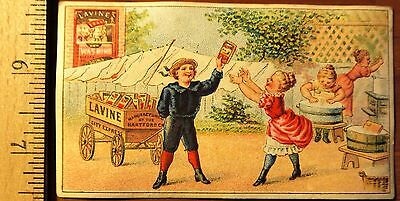 Victorian Trade card, Lavine Soap, Boy with Wagon.