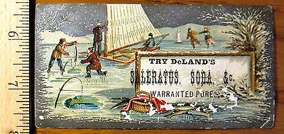 Victorian Trade Card, people at a frozen Lake in Winter. DeLand's  Fairport N.Y.