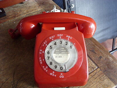 1960s/70s red rotary dial telephone in nice condition working